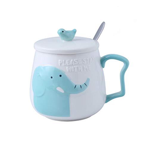 ONGGONGCHE Dibujos Animados en Relieve Marca de cerámica Taza estéreo con Taza de café Taza de Bebida de Oficina Taza Animal Flotador Plano - Elefante 400 ml