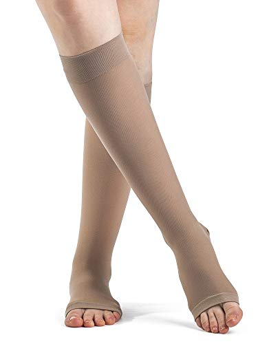 SIGVARIS Women's DYNAVEN Open Toe Calf-High Socks 20-30mmHg
