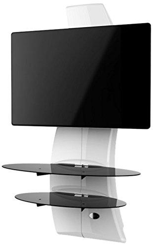 Meliconi Ghost Design 2000 (488066) (weiß) , TV Wandhalterung 81 - 160 cm, (32-63 Zoll), max. 70 kg - 20 kg für Glasauflagen, drehbar