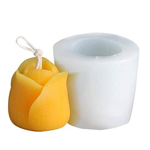 XQK 3D Tulipán hecho a mano molde reutilizable velas moldes DIY hacer velas jabón Craft molde adecuado para cera de soja, cera de abejas