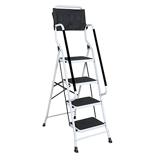 Support plus folding 4-step safety step ladder - step stool with...