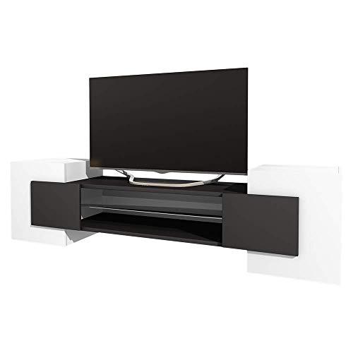 Selsey GAELIN - Mobile TV Moderno/Porta TV per Salotto/Tavolino TV 160 cm/Bianco e Nero