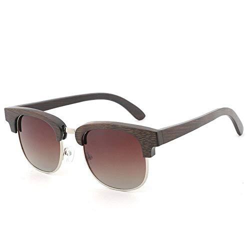 Gafas de Sol Gafas De Sol De Película De Color Polarizado Gafas De Bambú Recubiertas Gafas De Sol De Bambú De Medio Marco De Moda protección para los Ojos (Color : C)