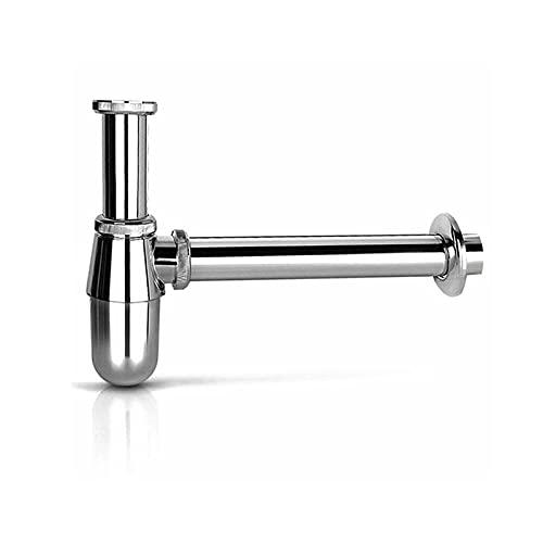 Siphon Waschbecken Edelstahl Rohre Röhrensiphon Siphon Röhrengeruchsverschluss für Waschtisch Universal Röhrensiphon Geruchsverschluss aus Metall (Siphon)