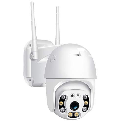 3MP Camara IP WiFi Exterior con Tarjeta 64G, 355 °Pan / 110 °Tilt Camaras, Camara WiFi Impermeable IP66 con Audio de Dos Vías, Visión Nocturna 60M en Color Detección de Movimiento Monitorización