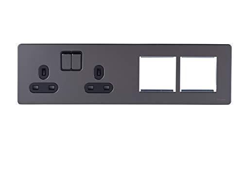 Schneider Electric GU34202DMPBBN platte plaat, geschakeld stopcontact, 2 x 2P + E met rolluiken, zwart