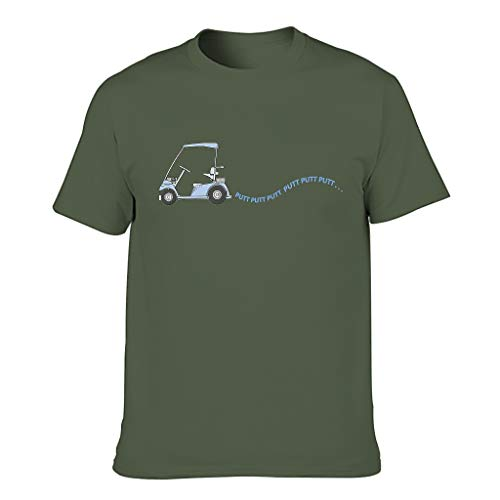 Lind88 Men Golf Putt Putt Putt Cotton T Shirts - Golfer Top Army Green 5XL