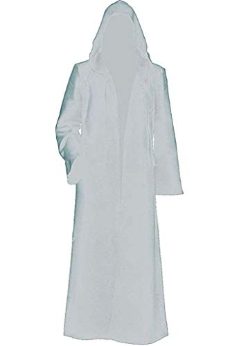 Dreamture Men Tunic Hooded Robe Cloak Knight Halloween Masquerade Cosplay Costume Cape White