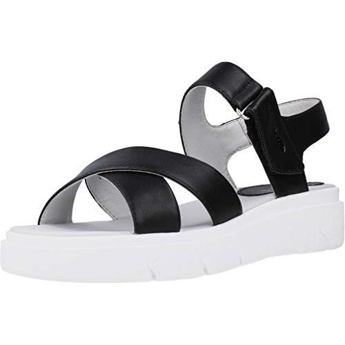 Geox Tamas D92DLE Mujer Sandalias de Vestir,Plataforma Sandalias,fémina Sandalia de la Plataforma,Zapatos de Verano,Sandalia Verano,cómoda Suela,Suela Gruesa,Negro,38 EU