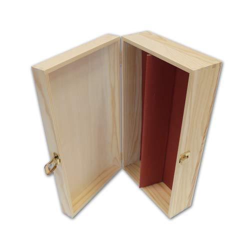 PZ 1 SCATOLA VINO IN LEGNO DI PINO NATURALE (2 BOTTIGLIE) CASSETTA PORTA BOTTIGLIE IN LEGNO BOX FOR BOTTLES CONTENITORE PORTABOTTIGLIE