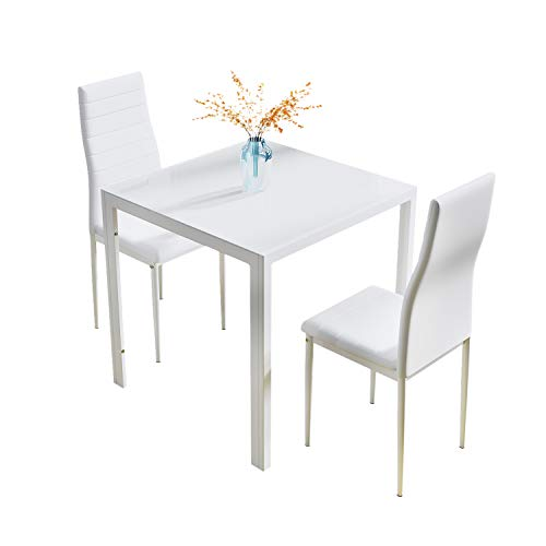 J Esstisch und Stühle, Glas, quadratisch, kleiner Küchentisch mit hoher Rückenlehne (weiß, 3)