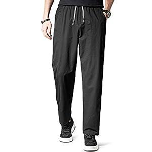 KTMOUW チノパン メンズ ゆったり イージーパンツ テーパード ワイド パンツ 大きいサイズ ズボン ロング パンツ 通気 カジュアル 調整紐 夏 秋 無地 黒 3XL