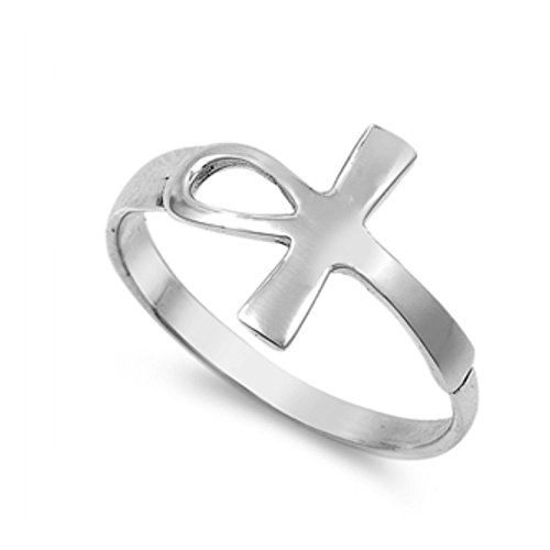 Ring aus Sterlingsilber - Ankh