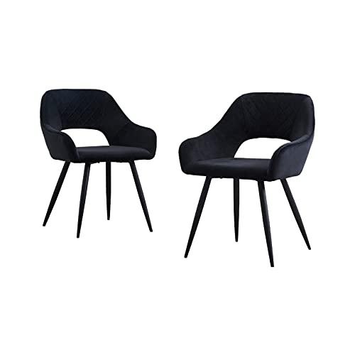 AINPECCA Esszimmerstühle, Samt, gepolstert, mit schwarzen Metallbeinen, für Wohnzimmer, Lounge, Rezeption, Restaurant (Samt-Schwarz, 2)