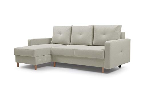 Ecksofa mit Schlaffunktion Eckcouch mit 2 X Bettkasten Sofa Couch L-Form Polsterecke Madison (Beige, Ecksofa Links)