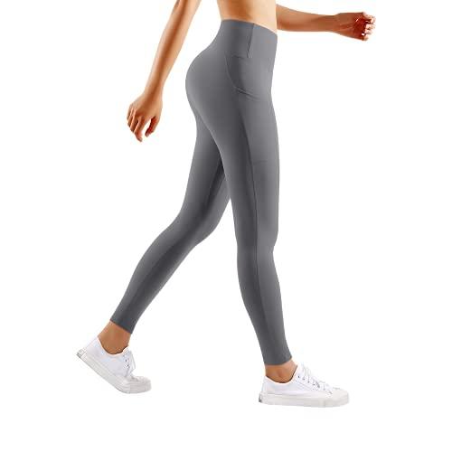 Coucot 3D Leggins Yoga Anticellulite Opaco Vita Alta Leggings Donna, Pantaloni Yoga Elastici Tessuto Morbido Pants con Tasche per Fitness, Pilates, Corsa, Allenamento-Grigio