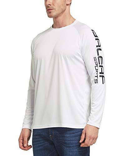 BALEAF Men's UPF 50+ Outdoor Running Long Sleeve Logo Lightweight Quick Dry Athletic Workout T-Shirt White Size M