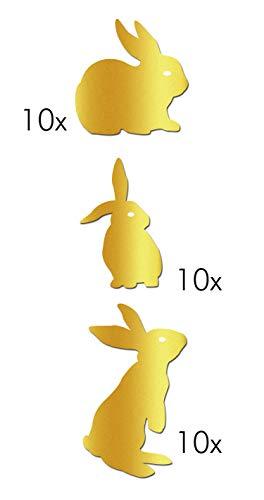 Grafix 30 x gouden haas vinyl stickers 3 verschillende motieven als feestdecoratie op glazen en kopjes