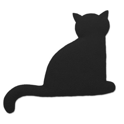 Leschi WÄRMEKISSEN lindert Rücken- und Bauchschmerzen/für Mikrowelle und Ofen/Körnerkissen für Damen, Kinder und Babys/Katze Minina, schwarz