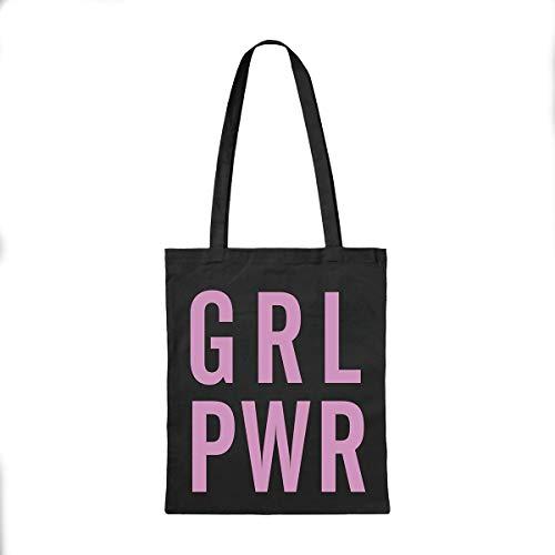Miss MIserable Bolsa de Tela GRL PWR – Tote Bag - algodón orgánico - Bandolera Mujer - Bolsas de Tela para Compra - Bolsas Regalo - Bolsa Reutilizable – Regalos Originales para Mujer, Negro y Rosa