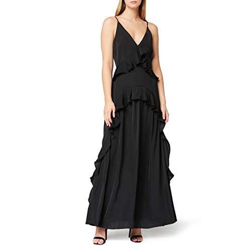 Marchio Amazon - TRUTH & FABLE Vestito Lungo a Balze Donna, Nero (Black), 46, Label: L