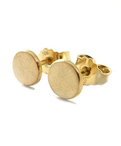 Ohrstecker Gold Silber 925 | echte Handmade Ohrringe vergoldet rund 6mm Eis-Matt | perfektes Geschenk für Damen, Herren, Kinder | kleine Silber Ohrringe Schmuck Set | Geburtstag