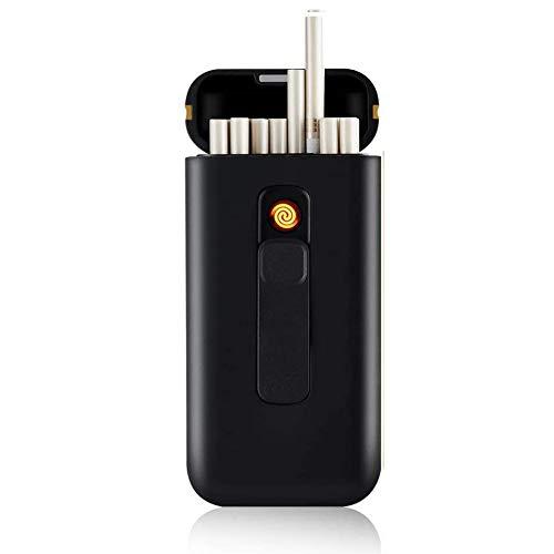 ALHJ Zigarettenanzünder, Tragbar 20 Stück 100 Stück Schmale Zigaretten Boxes USB-Feuerzeuge 2 In 1 Wiederaufladbare Flammenlos Windfest Feuerzeug,Black