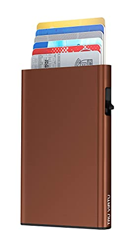 TRU VIRTU® Kartenetui Click & Slide Brown I Kreditkartenetui I Kartenetui-RFID-NFC-Schutz I Kartenetui aus Aluminium I Kartenaufbewahrung I Slim Wallet
