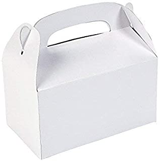 Tytroy White Paper Party Favor Boxes Gable Treat Boxes Arts & Crafts Goodie Bags with Handle (12 pc)