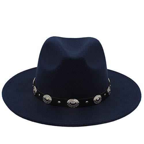 XinQuan Wang Hot Koop Goedkoop Unisex wol Jazz Hoeden Mens fedora hoed Vrouwen vilthoed Cowboy Hoeden van Panama for vrouwen Derby fedoras (Color : Dark Blue, Size : 56-58cm)