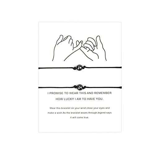 Pareja Distancia Emparejamiento Pulsera Mejor Amigo Compromiso Familia Mujer Hombre Adolescente Chica Joyería (Black Bracelet)