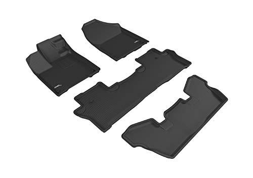 3D MAXpider L1HD08401509 Black Weather Floor Mat for Select Honda Pilot Elite Models Complete Set