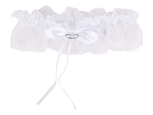 Alsino Hochzeits Strumpfband Brautaccessoire mit Schleife und Stein Elastisch aus Polyester Weiß (719167)