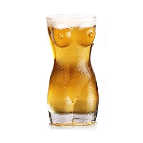 Comtervi Bierkrug, Sexy Bierglas Frauenkörper Männlicher Körper, Party Traumkörper, Frauentorso Glas mit Rundungen