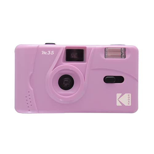 Reusable M35 35mm Film Camera, Fixed-Focus and Wide Angle, Easy to use, Build in Flash and Compatible with 35mm Color Negative or Black and White Film (Film and Battery NOT Included) (Purple)