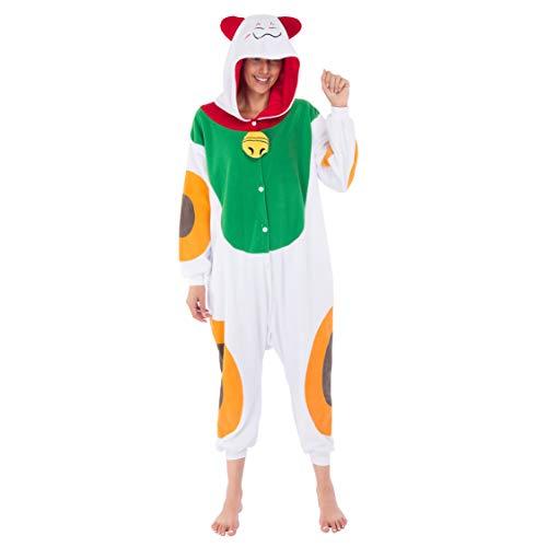 Spooktacular Creations Unisex Erwachsene Pyjama, Plüsch, Einteiler, Glückskatze, Tierkostüm -  mehrfarbig -  X-Large