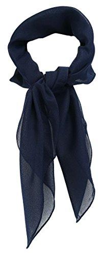 TigerTie Feines Damen Chiffon Nickituch in dunkelblau einfarbig Uni - Größe 58 cm x 58 cm - Tuch Halstuch Schal