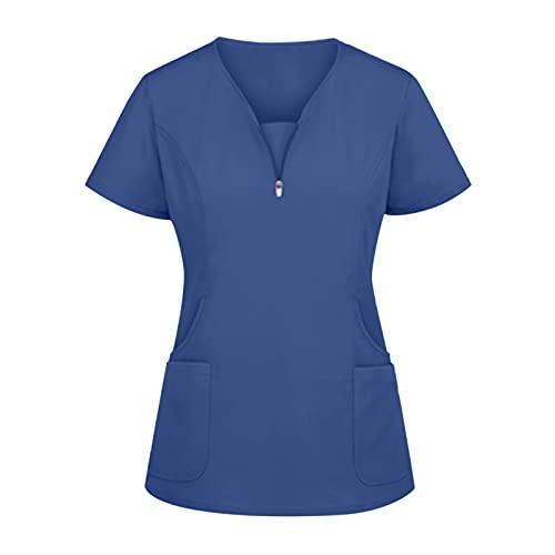 Kasack - Ropa de trabajo para mujer, con cuello en V, cremallera, manga corta, bata de laboratorio, monótono, ropa para mujer con dos bolsillos, uniforme
