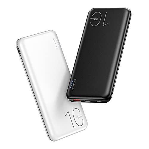 Kuulaa 2 Pack 10000mAh Power Bank,PD20W QC3.0 Schnellladen Externer Akku mit Zwei EIN- und Ausgängen Kompatibel mit iPhone 12/11, Samsung Galaxy, Google, Huawei(Schwarz + Weiß)