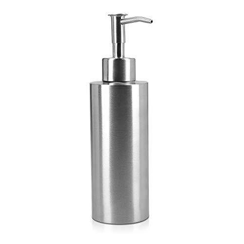 Navaris Portasapone Liquido da Bagno - 300ml in Acciaio Inox - Contenitore Sapone Bagno Cucina - Dosatore a Pompa - Ricaricabile 19,5xØ5,5x7,5cm