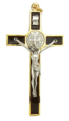 GTBITALY 10.389.21 SS Croce di San Benedetto Marrone Smaltata a Mano Misura 12 cm Oro con Anello esorcista esorcismo