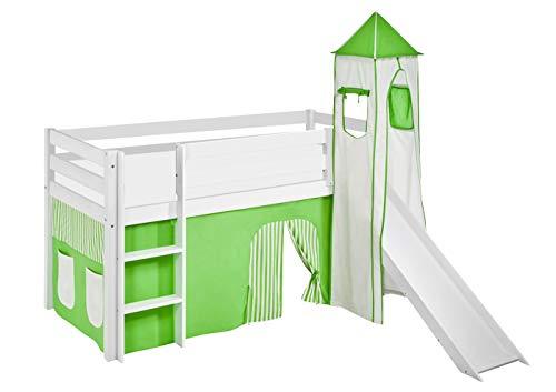 Lilokids Lit Mezzanine JELLE Vert-Beige-Rayures - lit d'enfant Blanc - avec Toboggan, Tour et Rideau - lit 90x190 cm