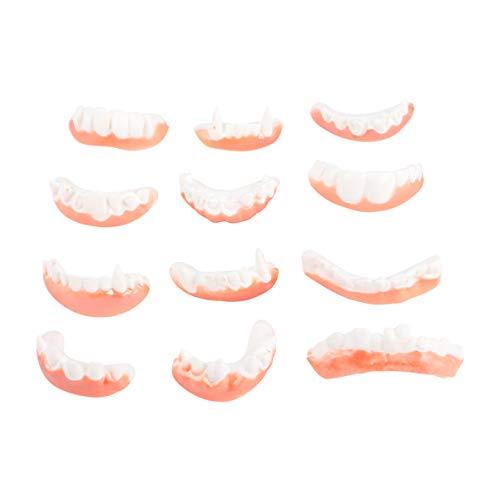 Artibetter 12 Pcs Dents Dents Moche Faux Dents Bob Dents Vampire Dentier Dents Haloween Dents pour Halloween Costume Party Favors Style Aléatoire