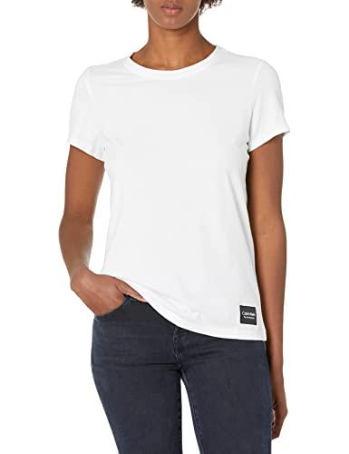Calvin Klein Women's Premium Performance Crew Neck T-Shirt (Standard and Plus), White, Medium