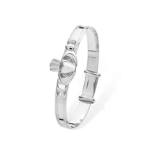 Aeon Real Sterling Silver Adjustable Celtic Claddagh Baby Bangle for Girls/Boys. 925 Silver Baby/Children's Bracelet with Claddagh