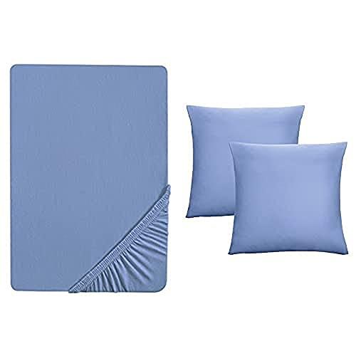 Biberna 0077144 Sábana Bajera Jersey Fino (Altura del colchón MAX. 22 cm) + 2X Funda de Almohada, algodón Peinado, Super Suave 1x 180x200 cm - 200x200 cm + 2X 80x80 cm, Azul