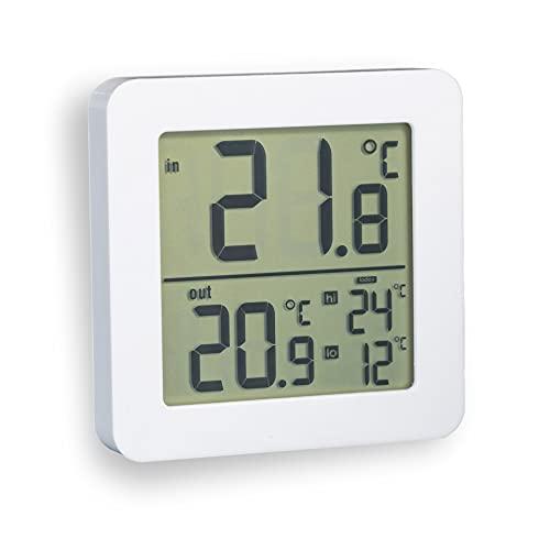 Fackelmann Thermometer Innen/Außen mit extra langem und robustem Kabelfühler Tecno, Besonders großes Display mit Außenthermometer und Übersicht der Höchst- und Tiefstwerte