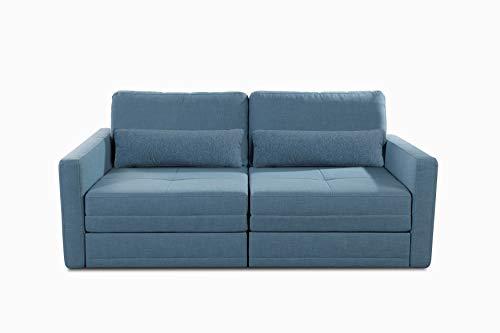 CAVADORE Bettsofa Ivar / Skandinavische 2er-Couch inkl. Schlaffunktion mit Lattenrost / 190 x 88 x 112 / Strukturstoff, Blau