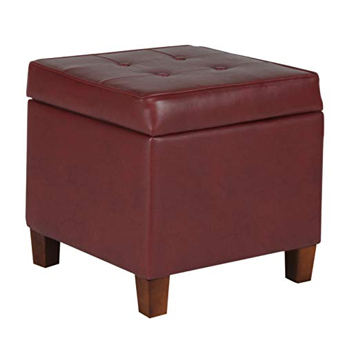 HomePop Leatherette Tufted Square Storage Ottoman with Hinged Lid Red