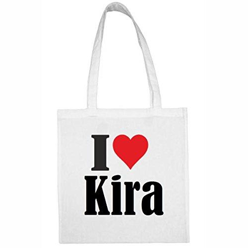 Tasche I Love Kira Größe 38x42 Farbe Weiss Druck Schwarz